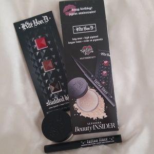 Kat Von D 3 PC Bundle - Powder, Liner, Lipstick